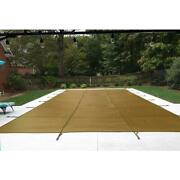 Pool Safety Cover 16x32 Ft Mesh Layer Uv Resistant In Ground Rectangular Brown