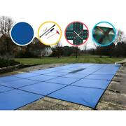 Pool Safety Cover 18x36 Ft In Ground Center Step Mesh Layer Rectangle Blue 2 Ply
