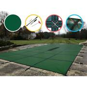 Pool Safety Cover 12x27 Ft Mesh Layer No Step Solid In Ground Rectangle Green