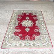 Yilong 5and039x8and039 Handknotted Silk Carpet Home Decor Red Bedroom Rug Mc288c