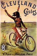 Cleveland Cycles Bike Wild West Fleeing On Bicycle Vintage Poster Repro Free S/h