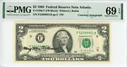 1995 2 Federal Reserve Note Autograph Mary Ellen Withrow Pmg Gem Unc 69epq