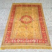 Yilong 4and039x6and039 Handmade Silk Carpet Handknotted Living Room Area Rugs Mc323b