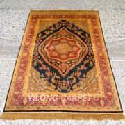 Yilong 4and039x6and039 Handknotted Silk Carpet Medallion Gold Floor Area Rugs Mc317b