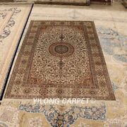 Yilong 4and039x6and039 Silk Handmade Area Rug Medallion Handcraft Antique Carpet 239a