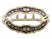 Antique 15k Yellow Gold And Blue Enamel Belt Buckle 1862