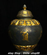 13.7 Old Tang Dynasty Silver Gold Gilt Six Character Truth Pot Drinking Vessel
