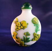 Vintage Chinese Glass Snuff/scent Bottle With Rabbits And Birds In Green And Yellow
