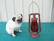 Rare Antique Feuerhand Nr. 257 Nier Oil Lantern With Red Globe Made In Germany