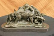 Signed Bronze Lecoutier Wild Hunting Dogs Attacking Boar Hot Cast Sculpture Deal