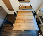 Reclaimed Wood Dining Table + Chair Seet W/ Hairpin Legs And Sturdy Inlays