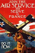 Join The Air Service And Serve In France Army War Vintage Poster Repro Free S/h