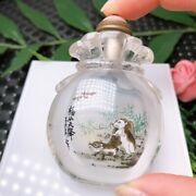 Chinese Natural Crystal Handmade Inner Painted Animal Snuff Bottle 60518