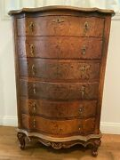 Antique Wood Chest Of Drawers With 6 Drawers | Skeleton Key Included