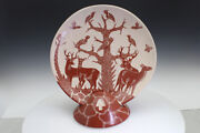 Mata Ortiz Plate And Stand Pottery Red Glaze White Clay Uncommon Collectable