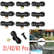 1/4and039and039 Slip-lock Misting Fog Nozzles Kit Patio Cooling System Garden Water Mister