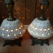 Italian Pierced Underlighted Vintage White Lamps New Wires And Sockets