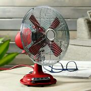 12'' Retro 3-speed Metal Table Fan, Red - Free Shipping