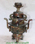12 Chinese Red Jade Lotus Lianhua 2 Layer Words Incense Burner Censer Statue