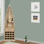 Furniture Boutiq Alexandria Boat Shaped Rustic Mango Wood Tall Wine Rack