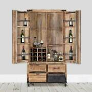 Furniture Boutiq Oenophile Solid Wood Tall Industrial Rolling Wine Bar Cabinet