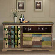Furniture Boutiq Modern Colourful Rustic Wine Bar Cabinet With Bottle Holder