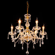 6 Arms Clear Gold And Clear Chandelier Lighting Ceiling Fixture Pendant Lamp Us