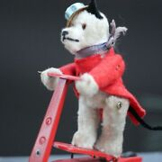 Antique White Foxy Dog On Mechanical Scooter Wind Up Toy Us Zone For Jumeau Bru