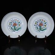 Chinese Vintage Porcelain Handmade Exquisite Plates A Pair 20624
