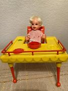 Vintage Suzy Cute 6.5 Doll 1964 Deluxe Reading Feeding Table With Stool Chair