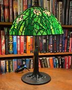 Reproduction Long Stem Daffodil Leaded Glass Lamp On Bronze Tree Base