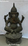 28 Old Bronze Seat Lotus 4 Arms Hand Ganapati Mammon Elephant God Buddha Statue