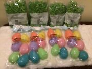 Easter Eggs And Easter Grass Lot 24 Large Plastic Eggs And 4 Bags Of Grass