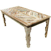 Furniture Boutiq Clifton Rustic Reclaimed Wood Parquet Top Dining Table
