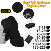 For 6 - 225hp Motor Black Boat Full Outboard Engine Cover Waterproof 600d Us