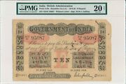 Government Of India India 10 Rupees 1919 Pmg 20net