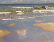 Fine Modern British Signed Oil Painting - Children Playing In Surf On Beach