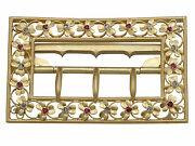Victorian 0.18 Ct Diamond And 0.19 Ct Ruby, 20k Yellow Gold Belt Buckle, 1860s