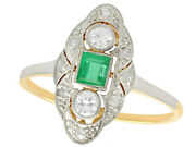 Vintage 0.25 Ct Emerald And 0.25 Ct Diamond 14k Yellow Gold Marquise Ring