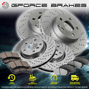 Front+rear Cross Drilled Rotors And Ceramic Pads For 2010-2014 Bmw X6 M 4.4l