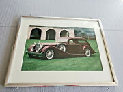 Vintage Art Frame Under Glass Rare Car Collectible 14 3/8and039and039 By 11 3/8and039and039