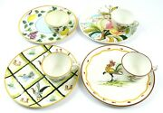 Lot Of 4 Mancioli Italy Mcm Ceramic Snack Plates W/ Cups - Rooster Ducks Fruit