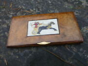 Antique Dunhill Bogwood Cigarette Case Hand Painted Insert And Gold Tab C1910