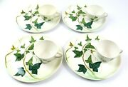 Vintage Mcm Mancioli Italy Ceramic Ivy Design 10 Snack Plate With Cup Set Of 4