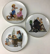 """Lot Of 3 Norman Rockwell Decorative Plates. 6.5"""". Doctor, Sailor, Music Master"""