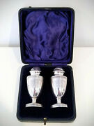 Antique Stirling Silver Hallmarked Edwardian Salt And Pepper Shakers Boxed