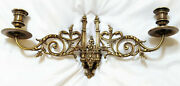Antique Art Nouveau Wall/piano Candle Holder Sconce By L. Pinet In Brass C.1906
