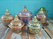 5 Set Hand Thai Painted Gold Tone Pottery Benjarong Porcelain Cup With Lid Trim