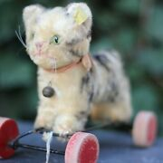 Antique Steiff Cat On Wheels W Button And Flag Top Mohair Fur 1950s Orig Bow Tie