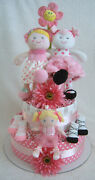 Bff Ballerina Dolly 3-tier Girl Diaper Cake + Clothes Baby Shower Gift